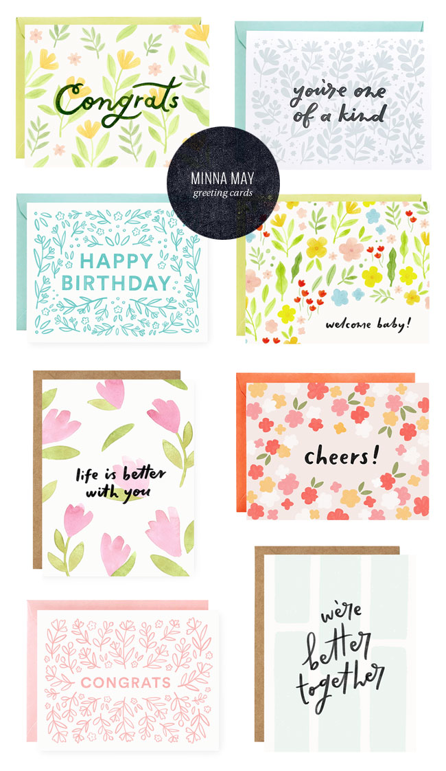 Hand Lettered and Illustrated Greeting Cards from Minna May