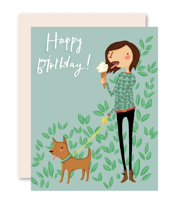 Ice Cream Girl Birthday Card by Pencil Joy