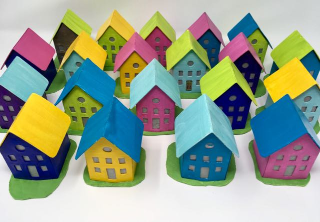 Easy Paper Houses - Free Printable Pattern - Paper Glitter Glue