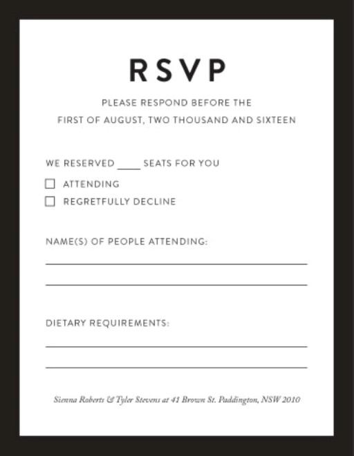 Rsvp Cards, Australia\u0027s Best Local Designs - Printed By Paperlust