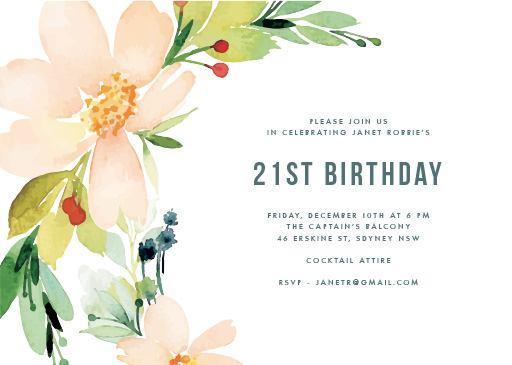 Floral Edge Raised Foil Birthday Invitations