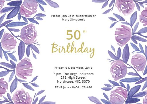 50th Birthday Invitations Customize And Print Online - Paperlust
