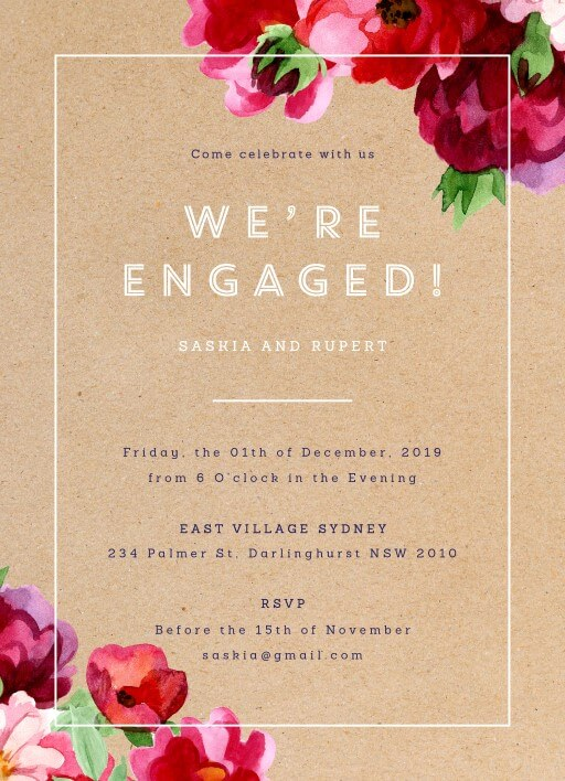 Engagement Party Invitations Design It Online - Paperlust - create engagement invitation card online free