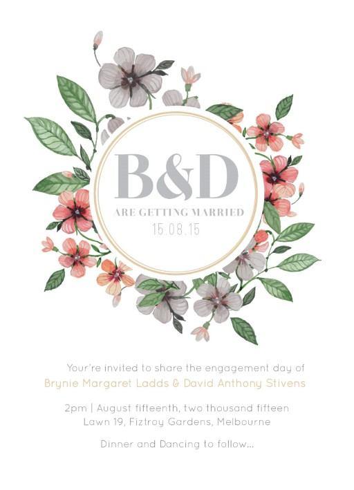 Floral Circle Invitati DP Engagement Invitations