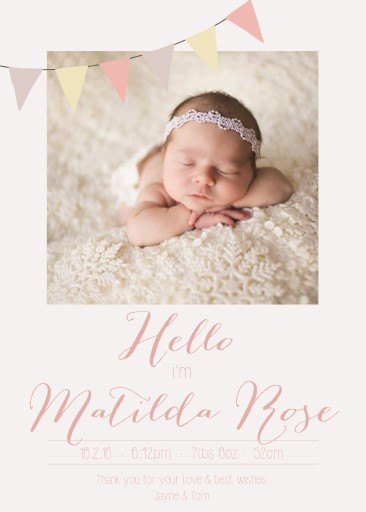 Baby Announcements Cards Customise  Print Online With Paperlust
