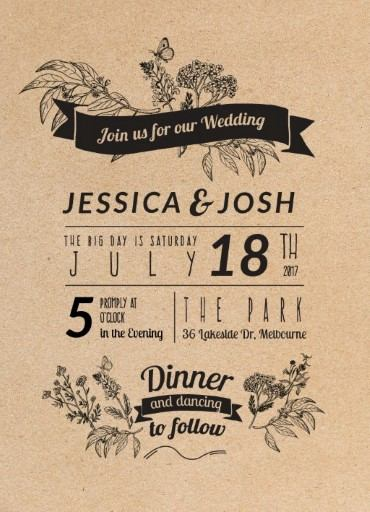 Rustic Digital Printing Wedding Invitations - rustic wedding invitation
