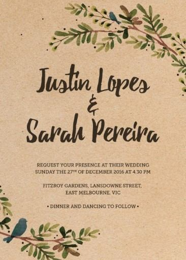 Rustic Garden Digital Printing Wedding Invitations - rustic wedding invitation