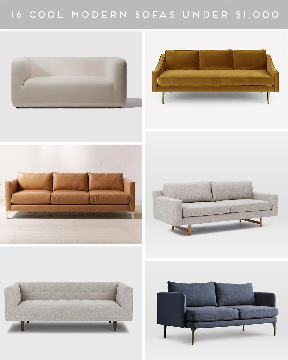 Couch Potato 16 Stylish Modern Sofas Under 1 000 Paper And Stitch