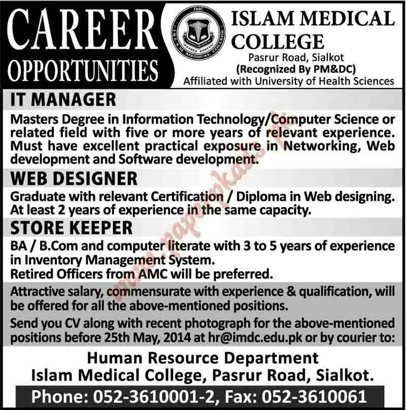 IT Manager, Web Designer, Store Keeper and Other Jobs in Islam