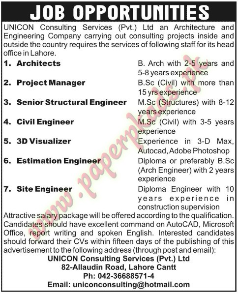 Architects, Projects Manager, Senior Structural Engineer, Civil - structural engineer job description