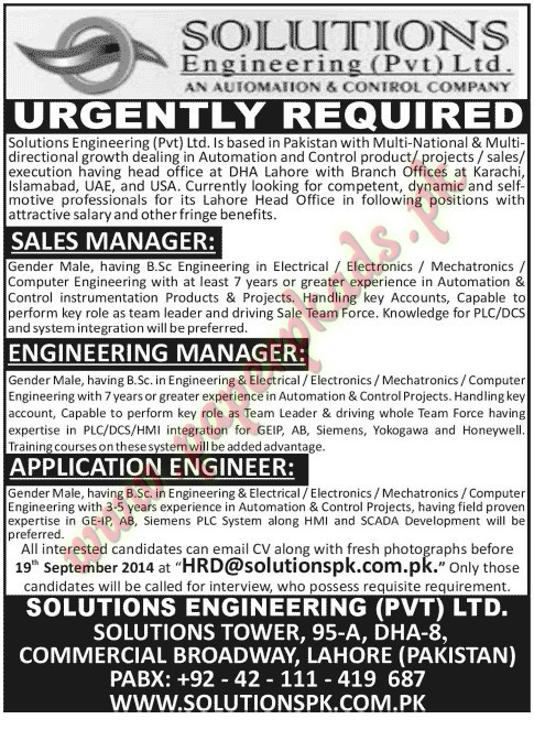 Sales Manager, Engineering Manager, Application Engineer Jobs - Jang - application engineer job description