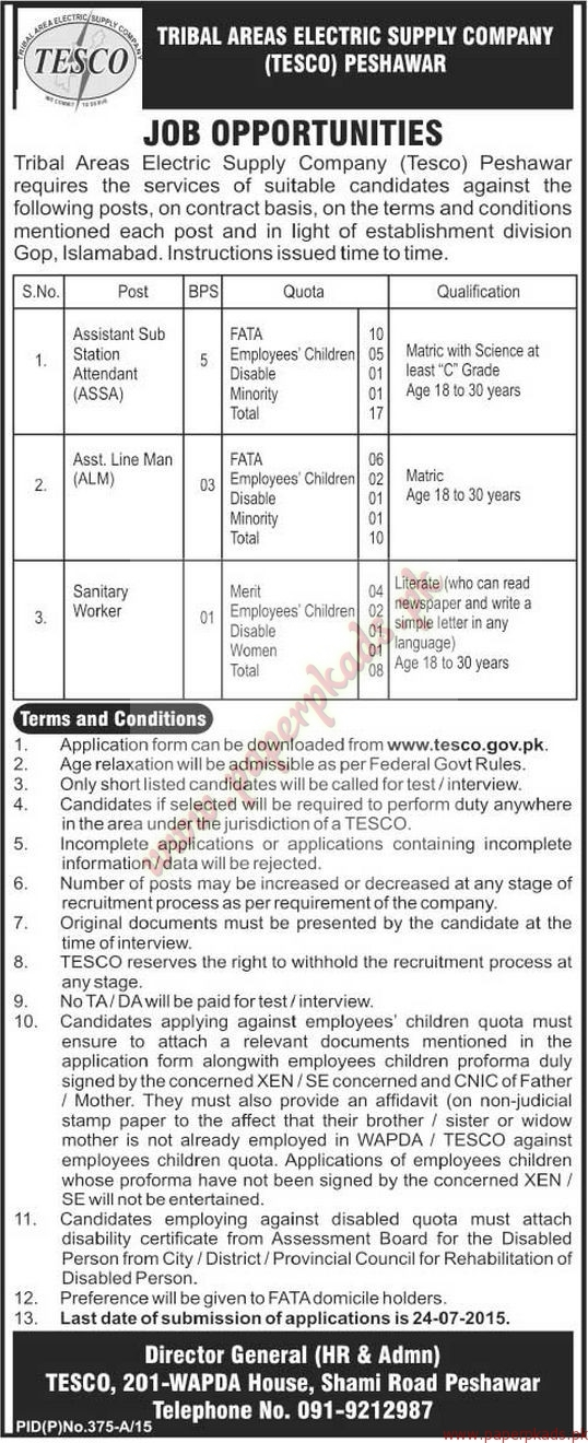 TESCO Peshawar Jobs - The News Jobs ads 23 June 2015 - PaperPk - tesco cv