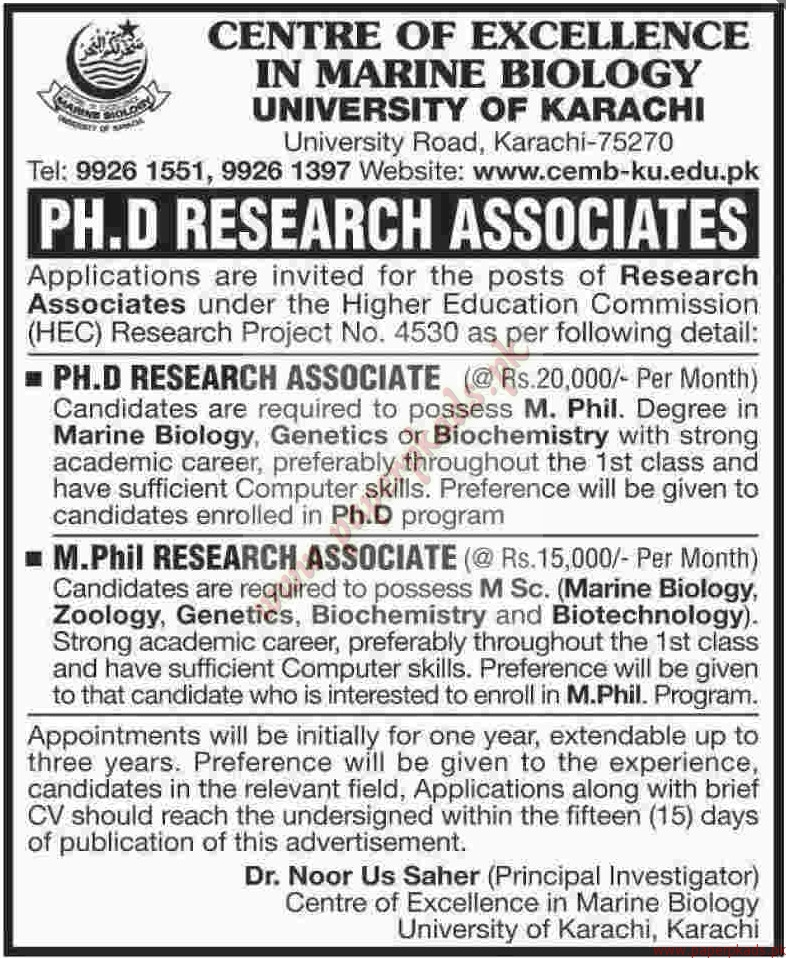 Centre of Excellence in Marine Biology Jobs - Dawn Jobs ads 06