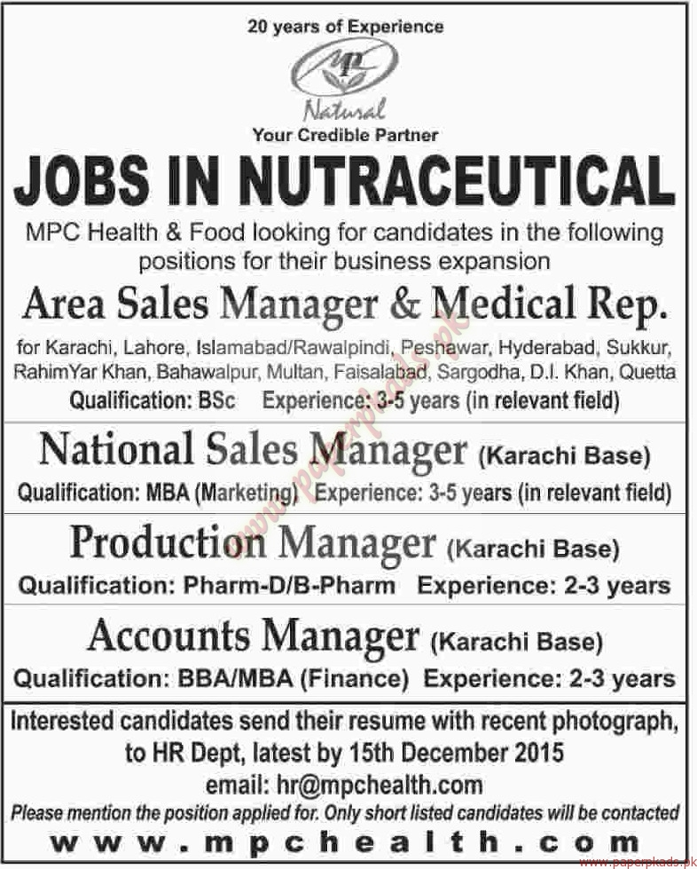 National Sales Manager, production Manager, Accounts Managers Jobs