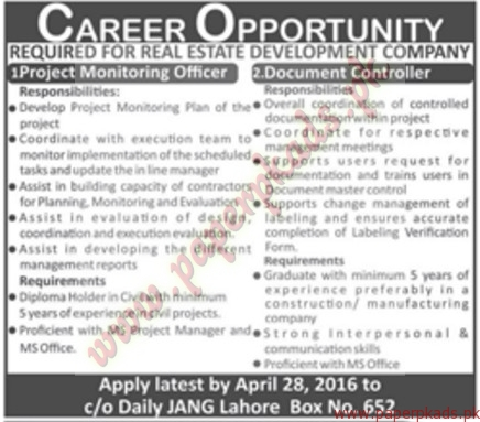 Project Monitoring Officer, Document controller and Other Jobs