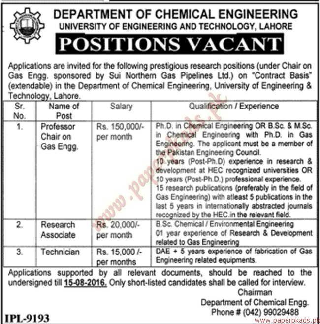 Department of Chemical Engineering University of Engineering and - chemical engineering job description
