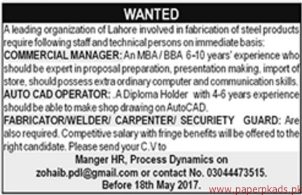 Commercial Manager Auto CAD operators and Security Guards Jobs