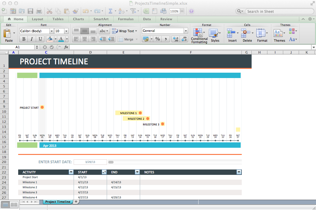 Track projects in Excel like a ninja - Paper Raven Books - template timeline excel