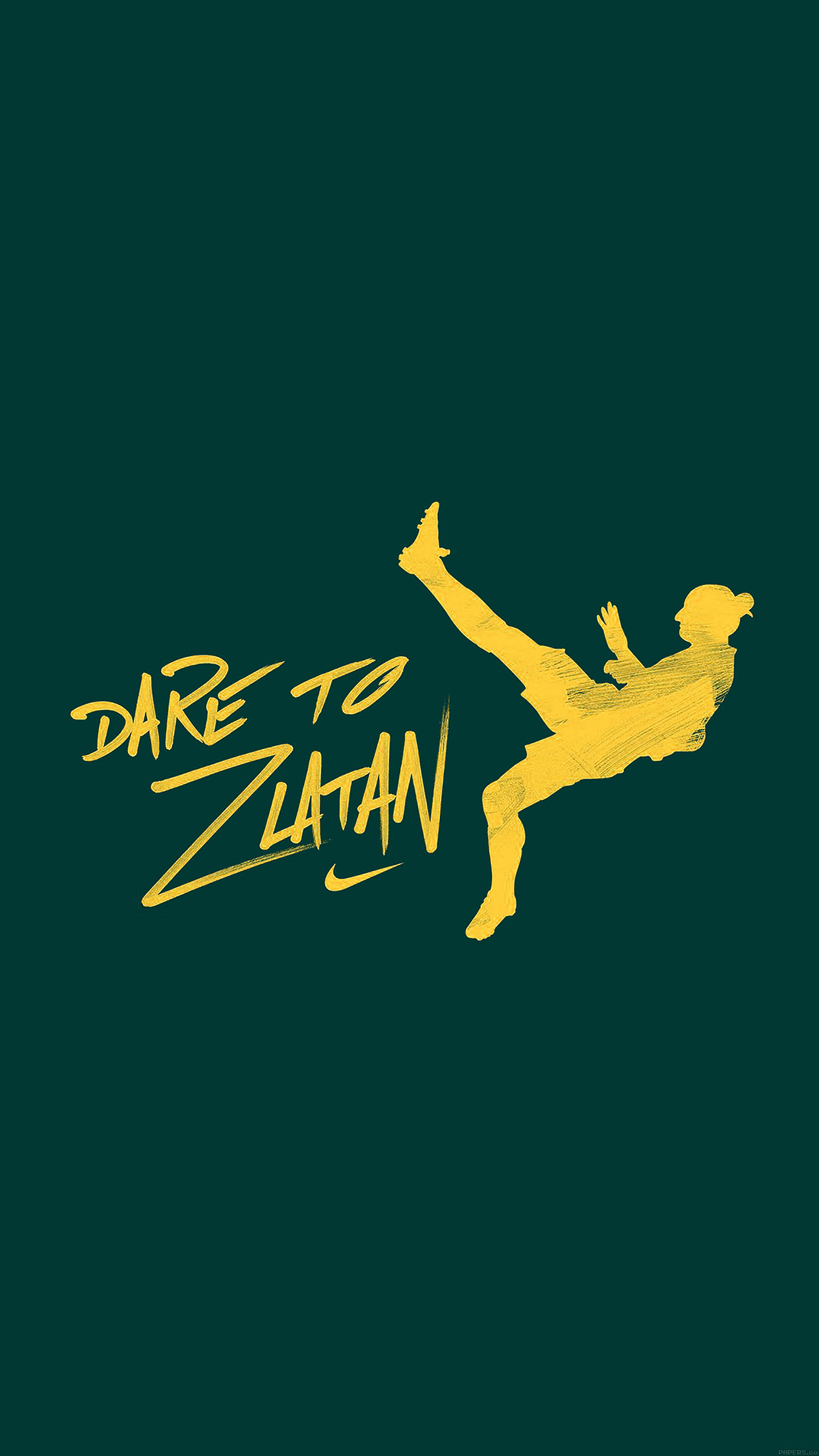 Wallpaper Cute For Iphone 6 Plus Aa53 Dare To Zlatan Green Sports Art Papers Co