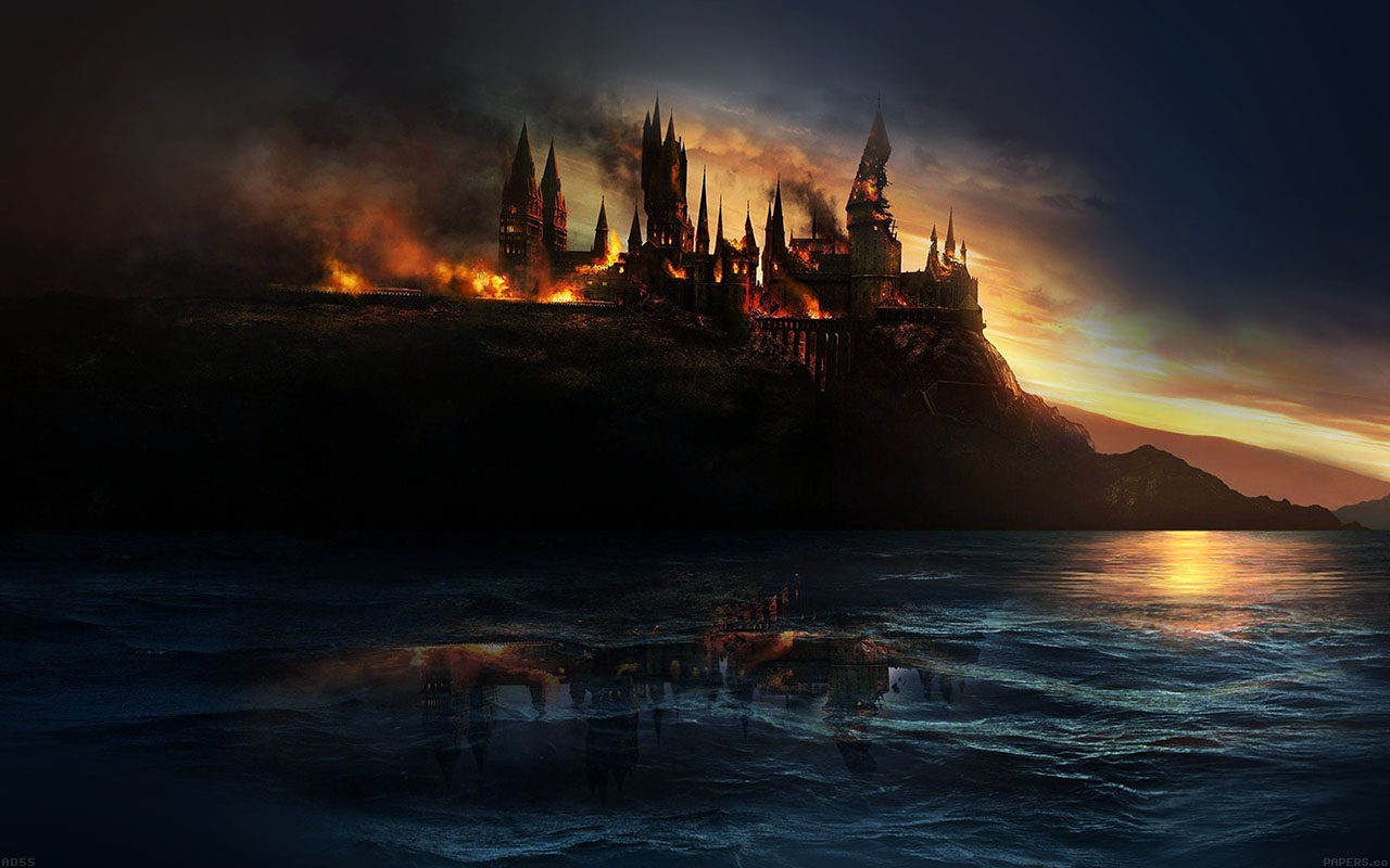 Hd Wallpaper Yosemite Fire Fall Ad55 City Castle On Fire Art Papers Co