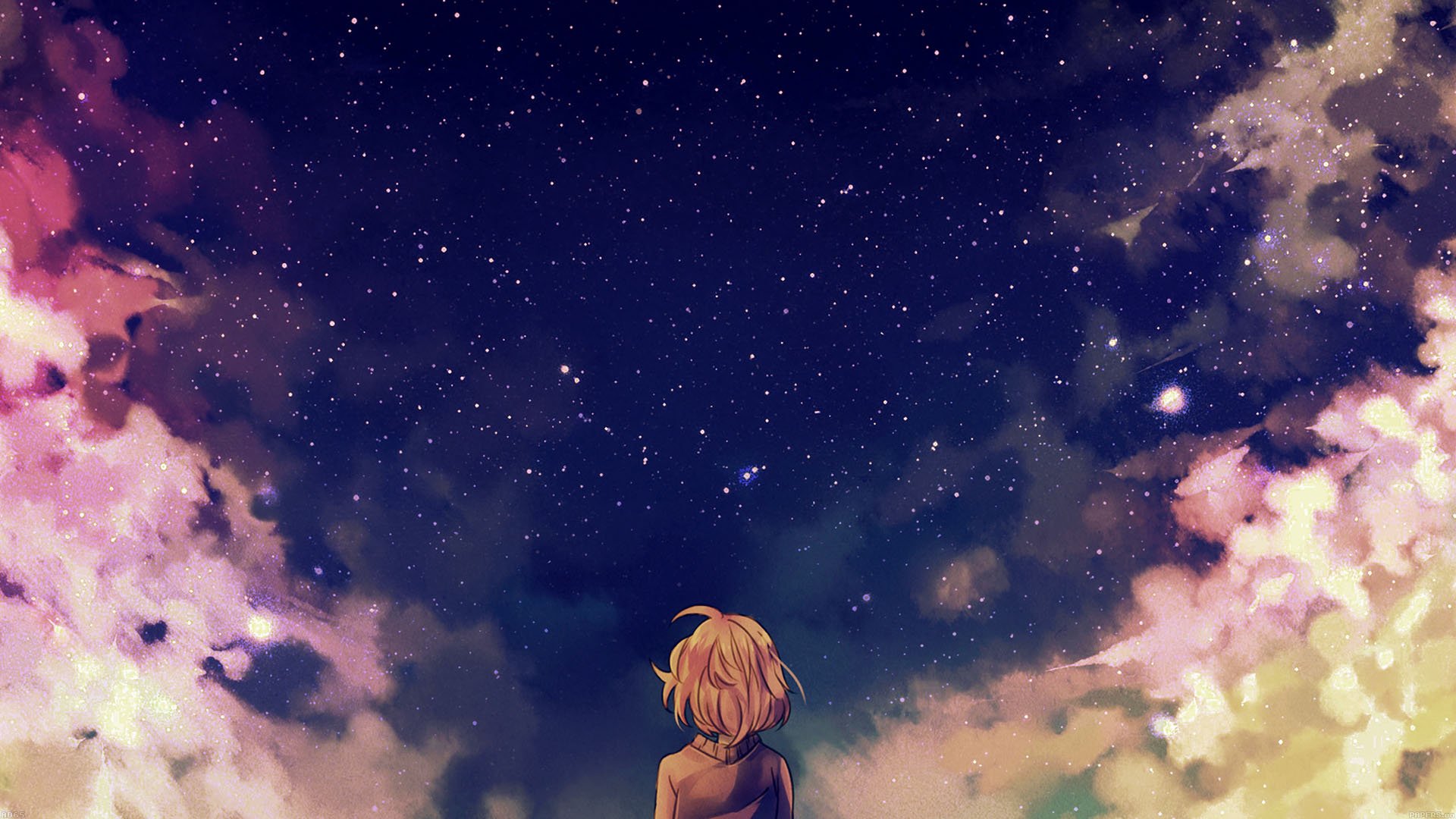 Google Image Cute Wallpapers Ad65 Starry Space Illust Anime Girl Wallpaper