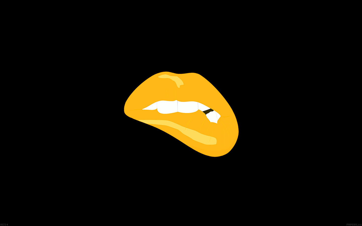 Minimalist Cute Desktop Wallpaper Ae54 Biting Lips Gold Black Background Minimal Art Wallpaper