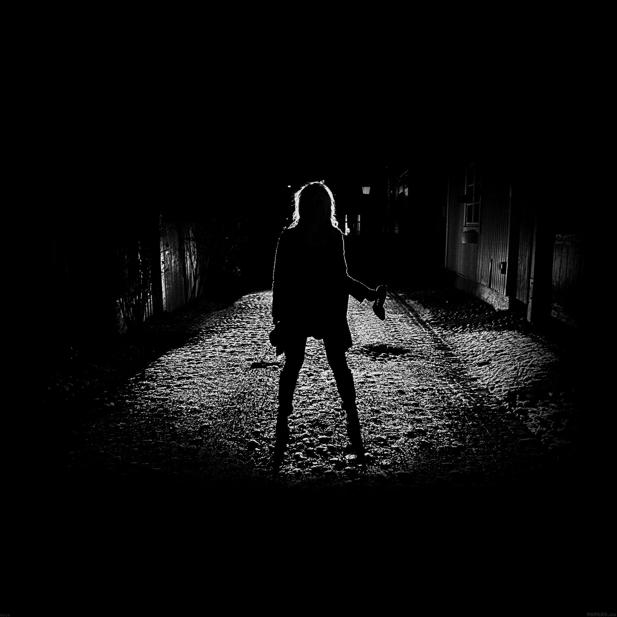 Anime Girl Wallpaper Black And White Ae59 Girl Silhouette Dark Street Scary Maybe Papers Co