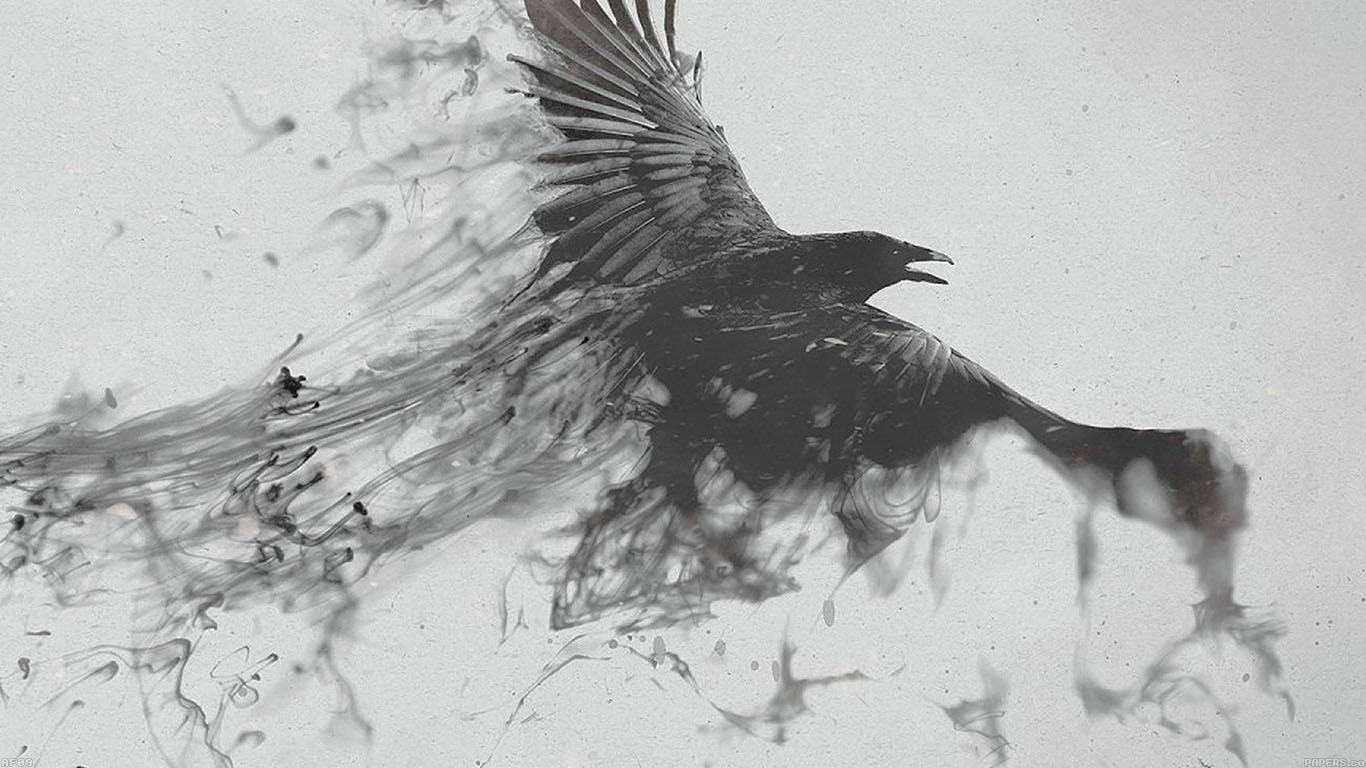 Fall 1080p Wallpaper Af09 Black Bird Smoke Art Illust Papers Co