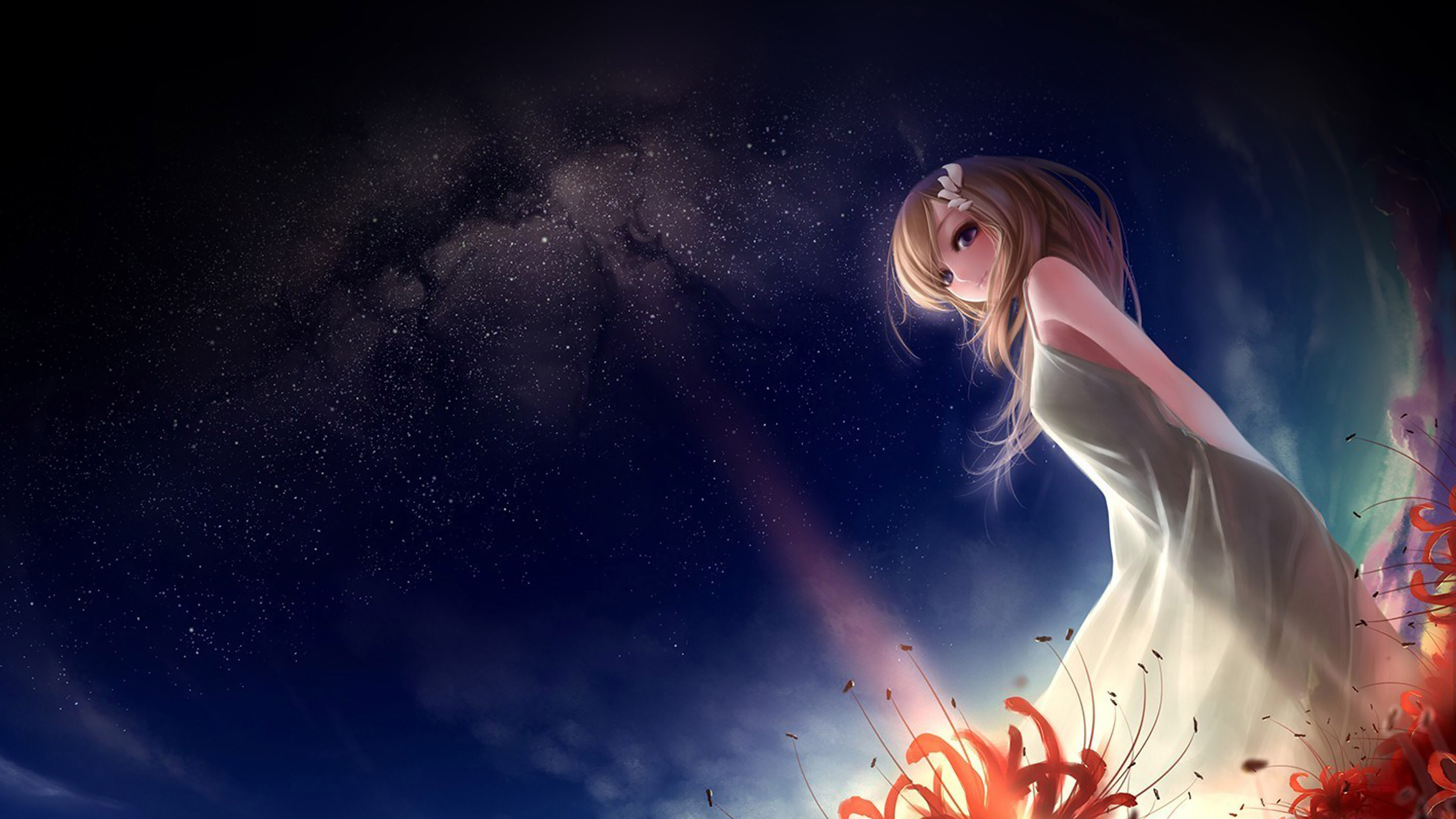 Fall Car Wallpaper Af50 Anime Girl In Space Sky Wallpaper