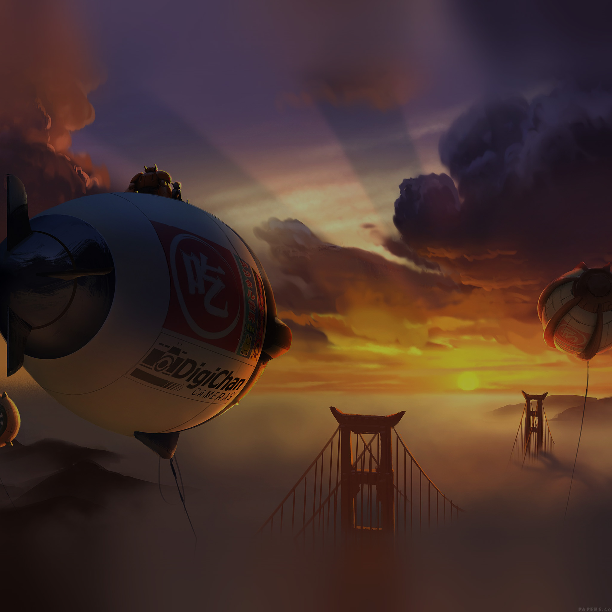 3d Parallax Wallpaper Pro Af89 Big Hero 6 Fly Air Dark Disney Art Illust