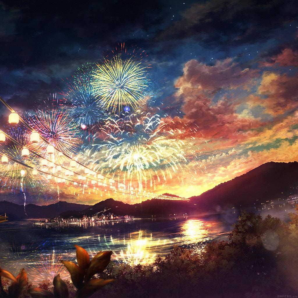 Samsung Note 2 Car Wallpaper Ah44 Firework Dark Night Anime Art Illust Wallpaper