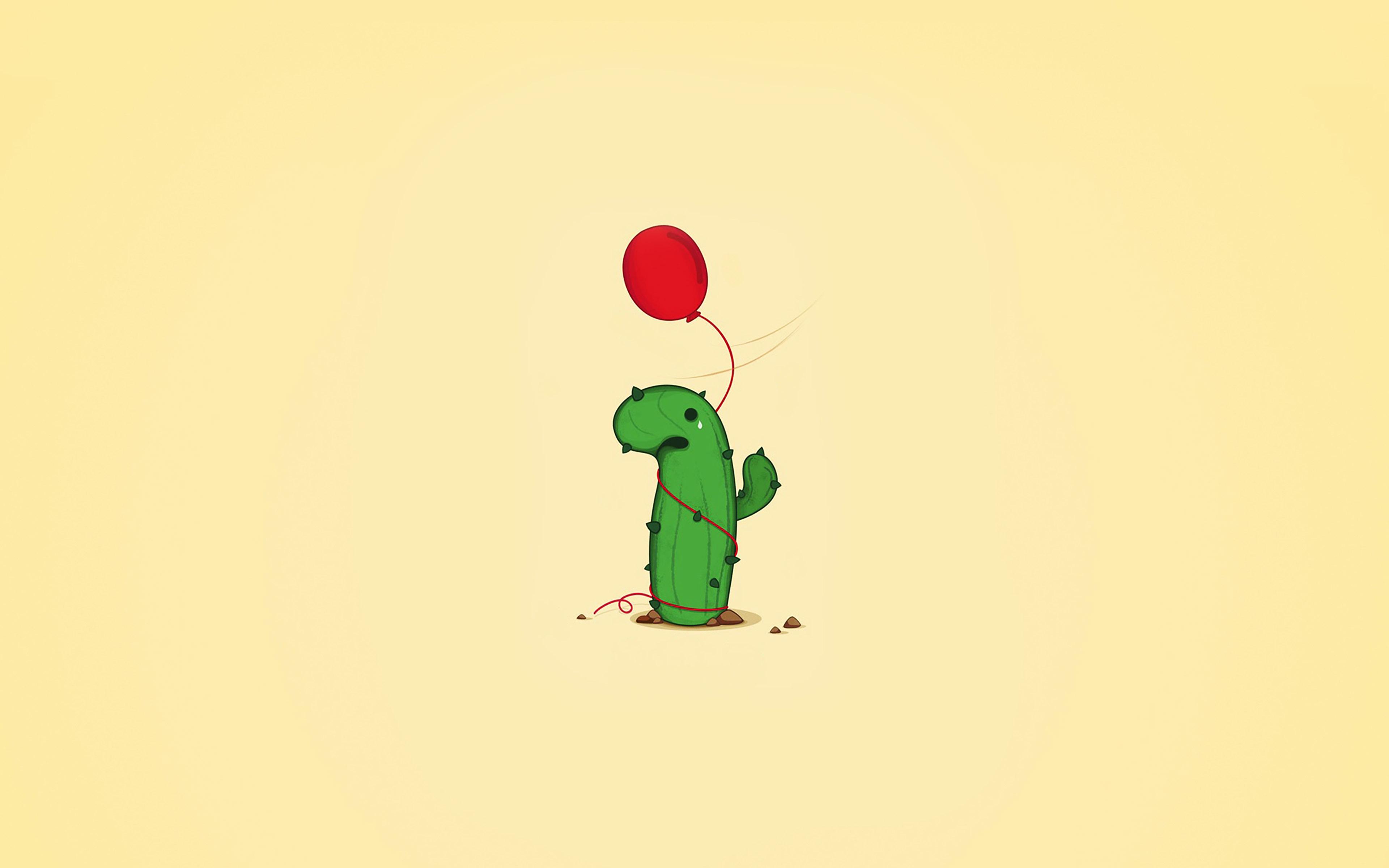 Cute Cactus Wallpaper Macbook Ai35 Cute Cactus Ballon Illust Art Minimal Papers Co
