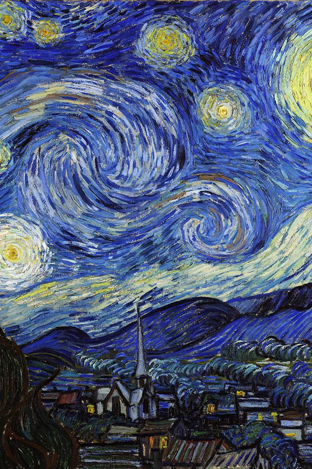 Van Gogh Starry Night Iphone Wallpaper Aj42 Vincent Van Gogh Starry Night Classic Painting Art