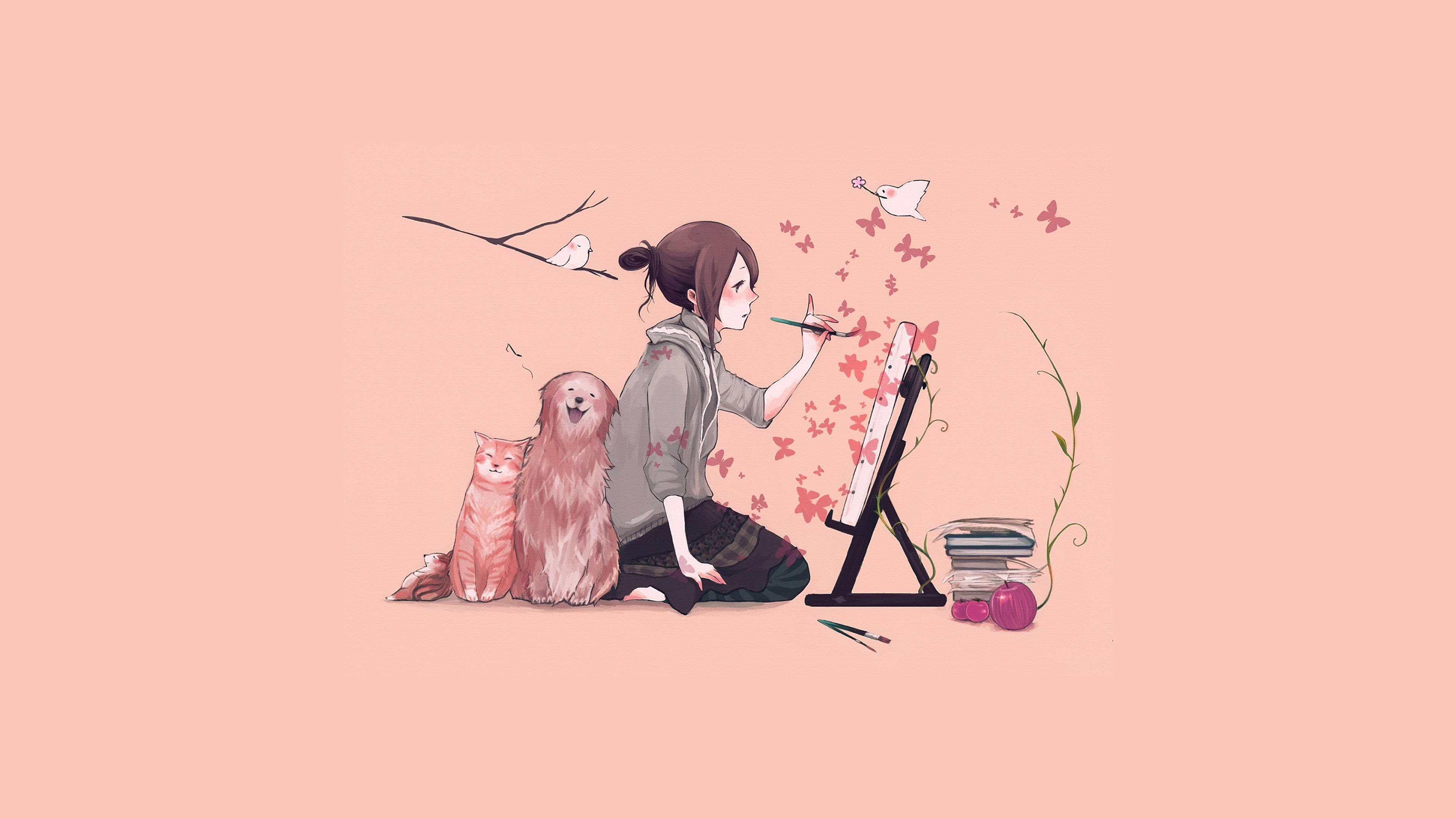 Dark Fall Iphone Wallpaper Aj49 Illustrator Dog Cat Pink Art Illust Wallpaper