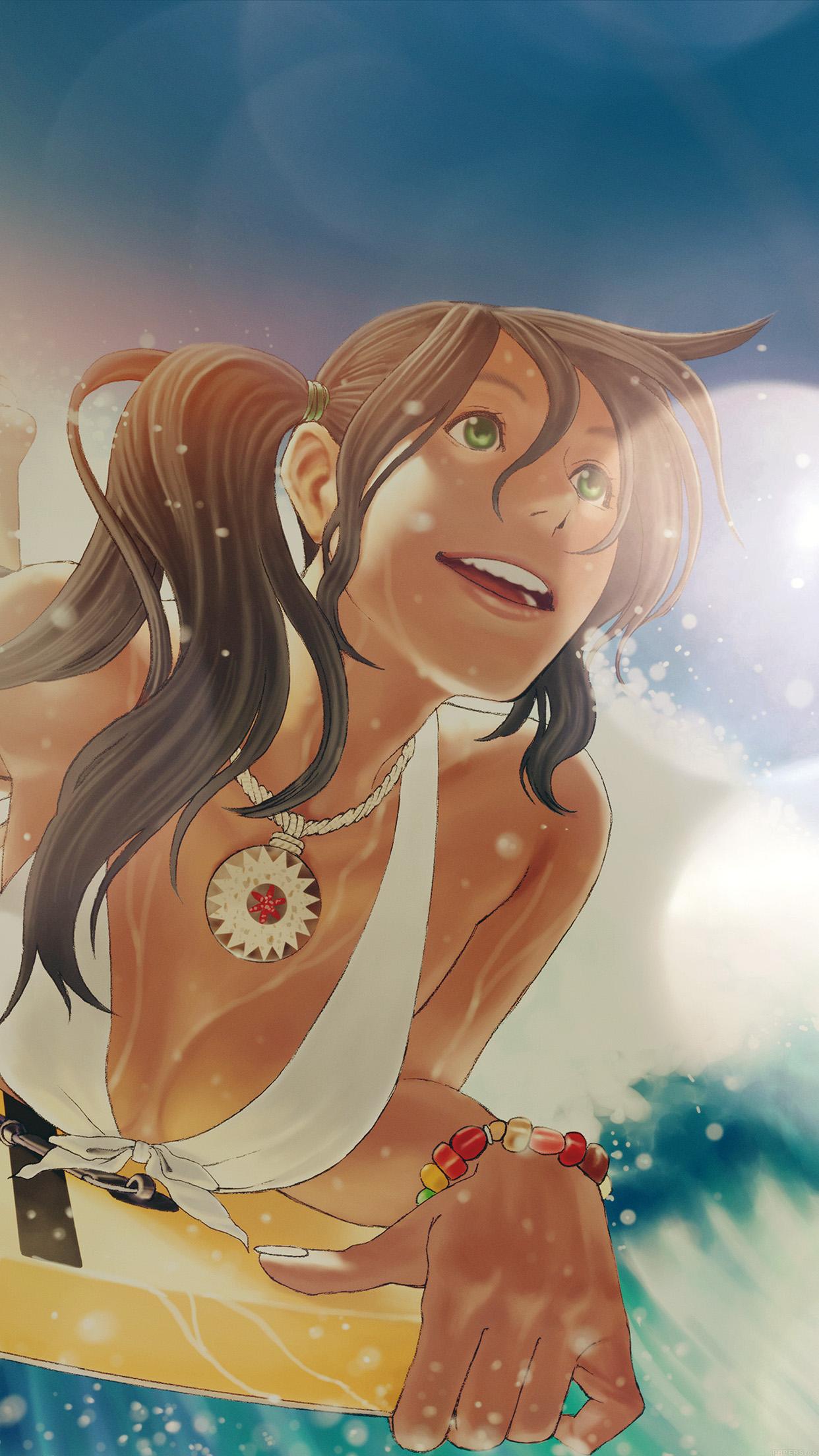 Surf Wallpaper Iphone X Aj87 Surfing Girl Anime Flare Illust Art Sea Sports