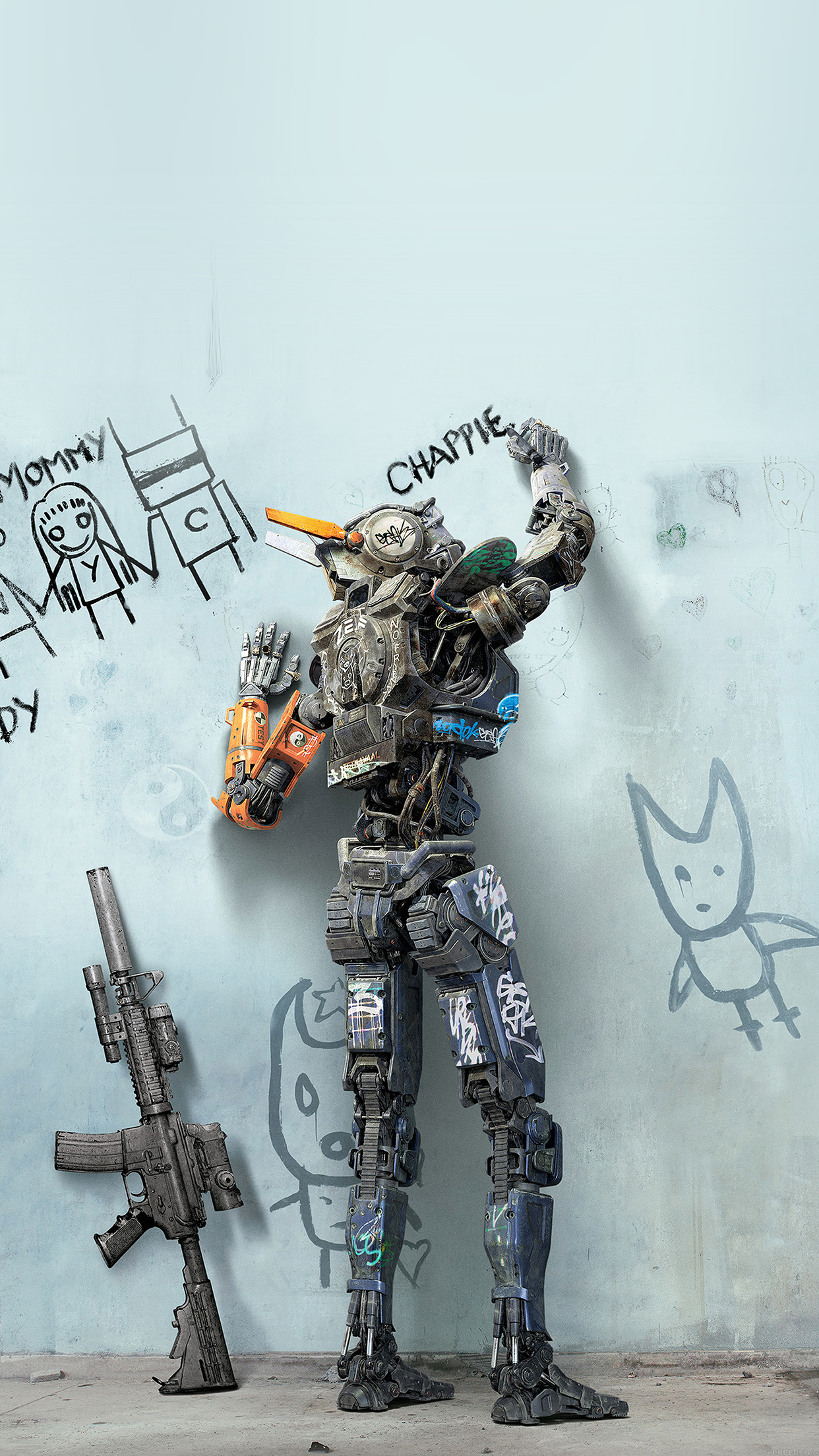 3d Parallax Wallpapers Androod Ak58 Chappie Robot Art Film Poster