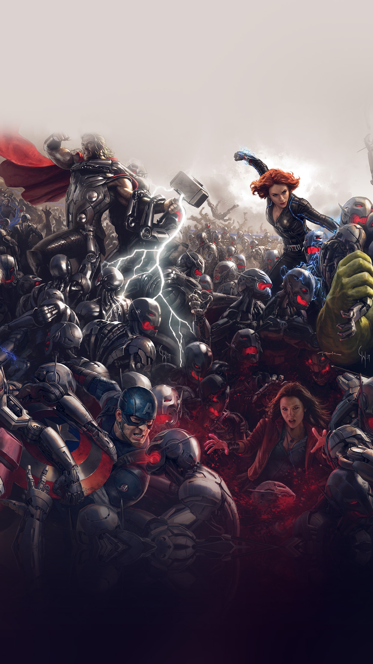 Sick Wallpapers For Iphone 6 Al92 Avengers Marvel Hero Ultron Super Fight Art Papers Co