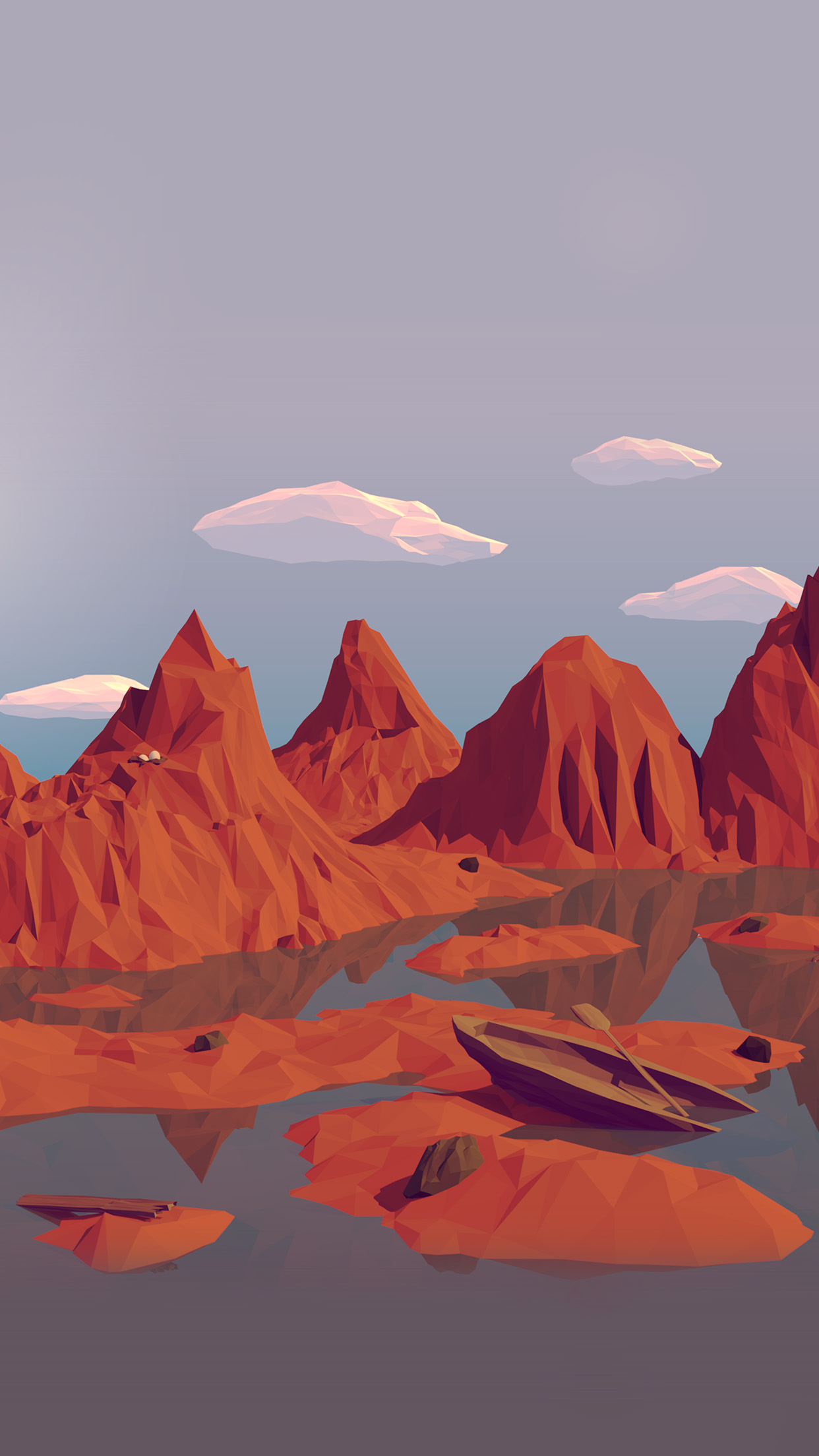 Best Wallpaper In 3d Parallax Background Am37 Low Poly Art Mountain Red Illust Art