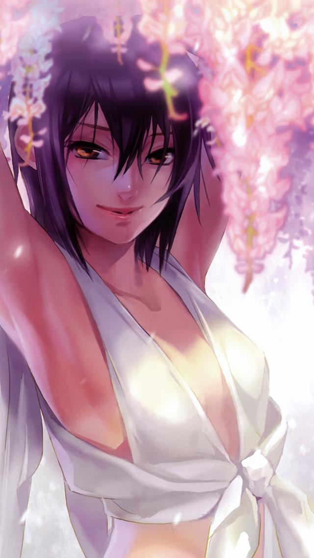 Beautiful Cute Girl Desktop Wallpaper An76 Anime Art Girl Flower Cute White Wallpaper