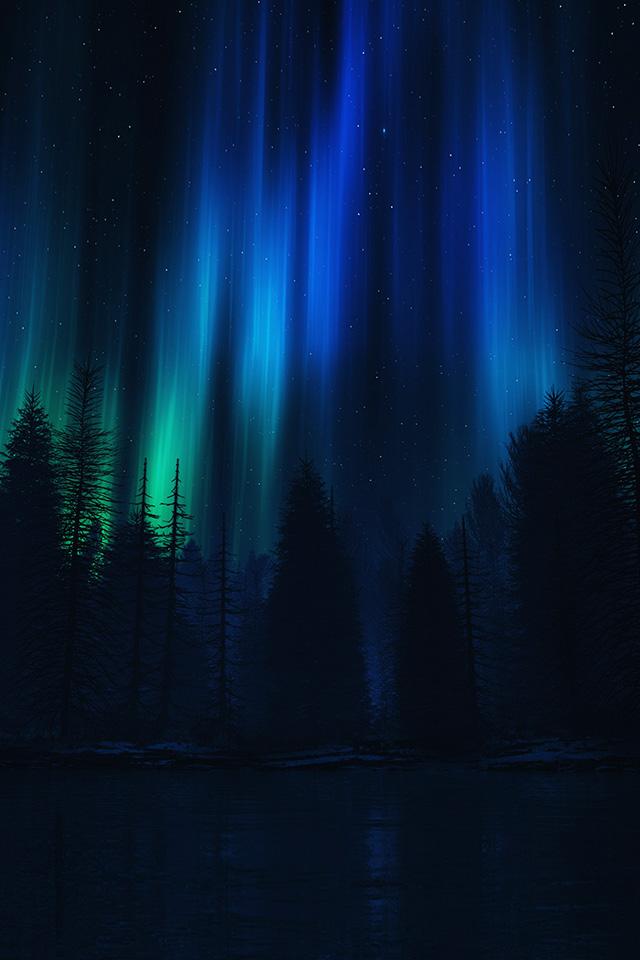 Samsung Note 2 Car Wallpaper Ao04 Aurora Night Sky Dark Blue Nature Art Papers Co