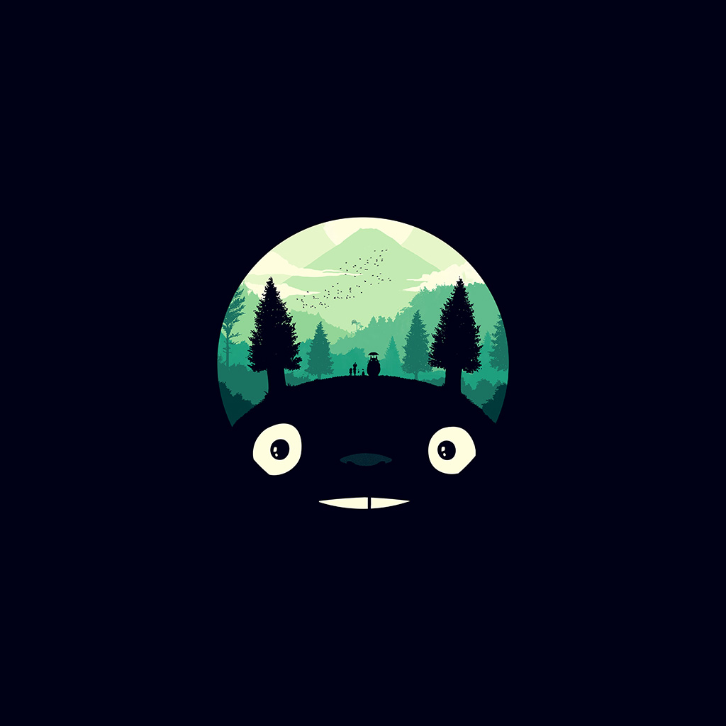 3d Parallax Wallpapers Androod Ao38 Totoro Art Illust Simple Cute Dark