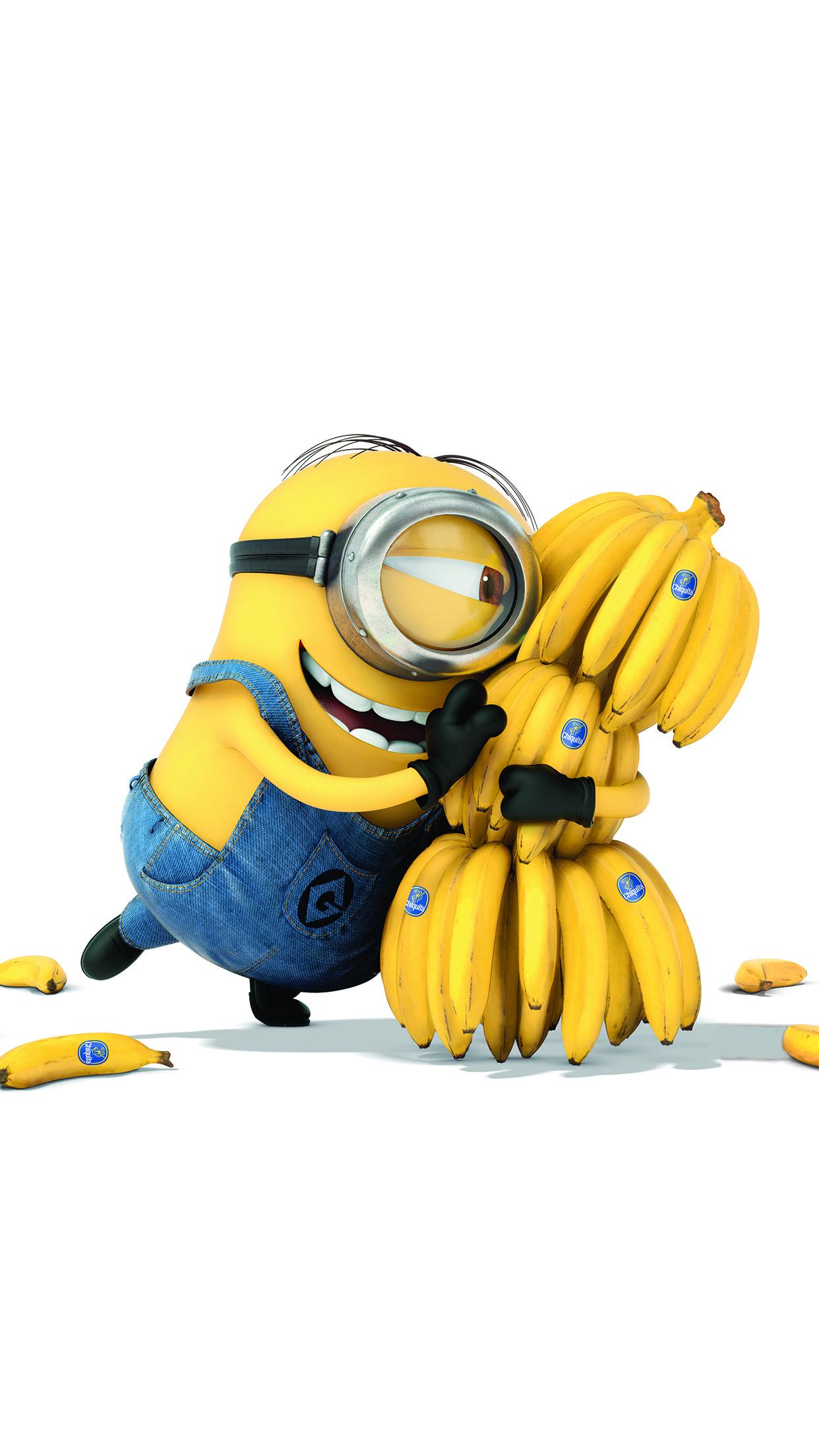 Iphone 6 Plus Retina Wallpaper Ap08 Minions Art Illust Film Cute Banana Yellow Papers Co