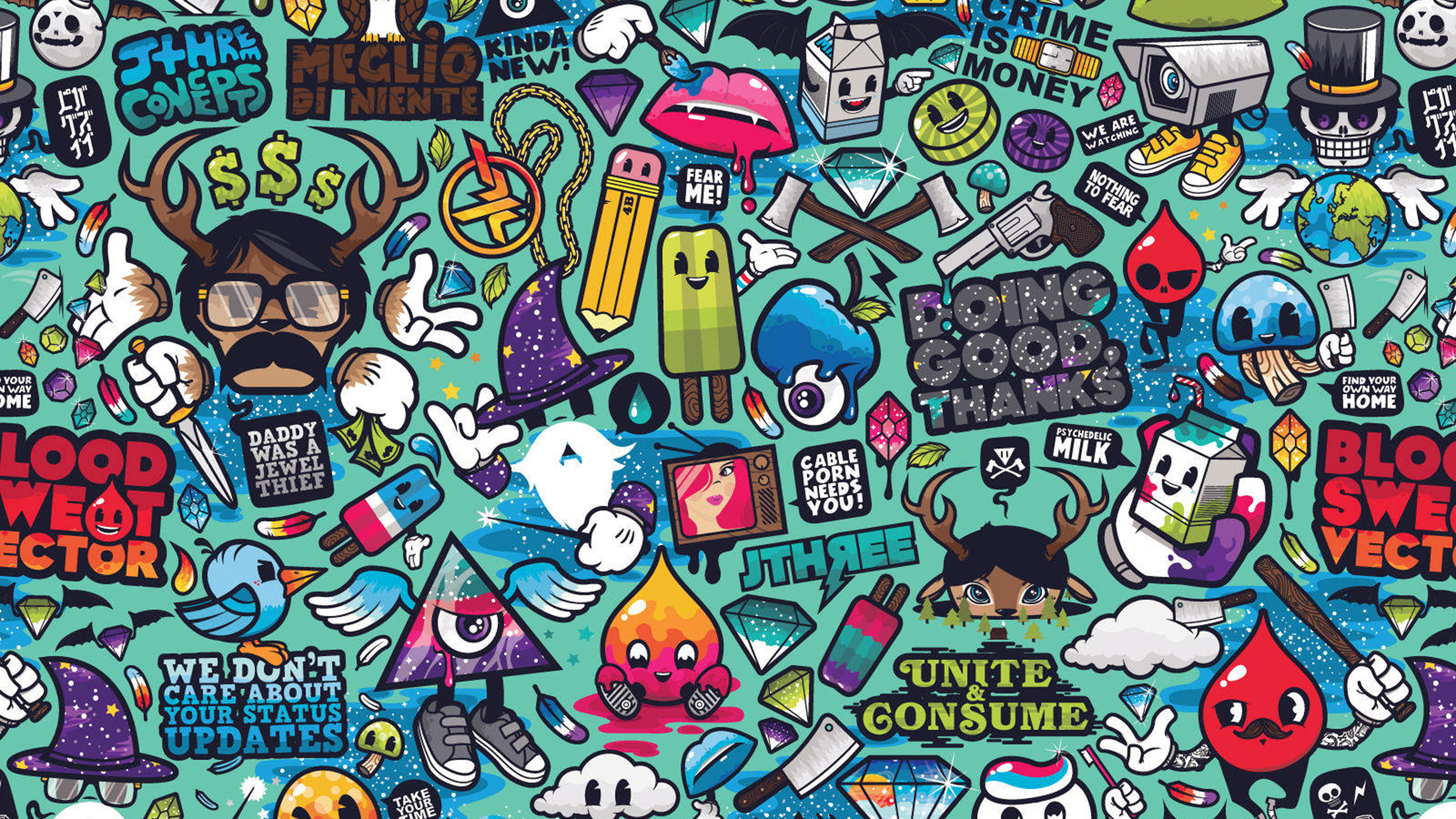 Gravity Falls Wallpaper Celular Hd Aq61 Art Work Pattern Illustration Graffiti Wallpaper