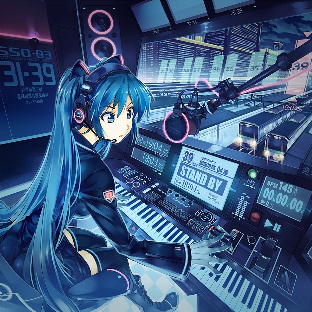 Kawaii Cat Girl Wallpaper At52 Hatsune Miku Anime Girl Train Blue Art Illustration
