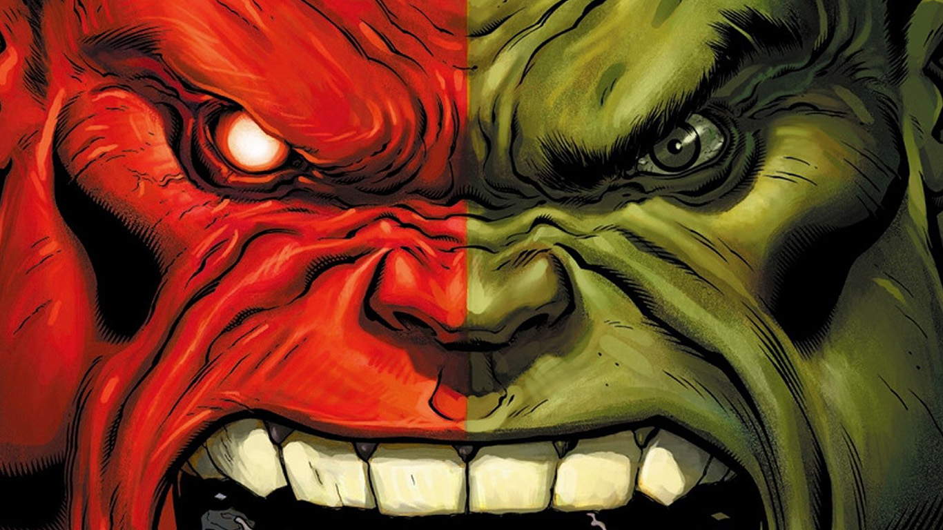 Summer Fall Desktop Wallpaper Au36 Hulk Red Anger Cartoon Illustration Art Wallpaper