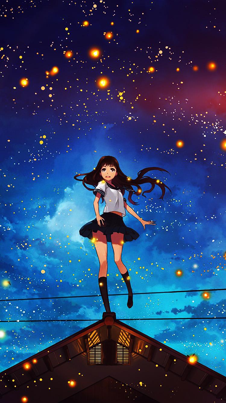 Dark Anime Girl Phone Wallpaper I Love Papers Au47 Girl Anime Star Space Night