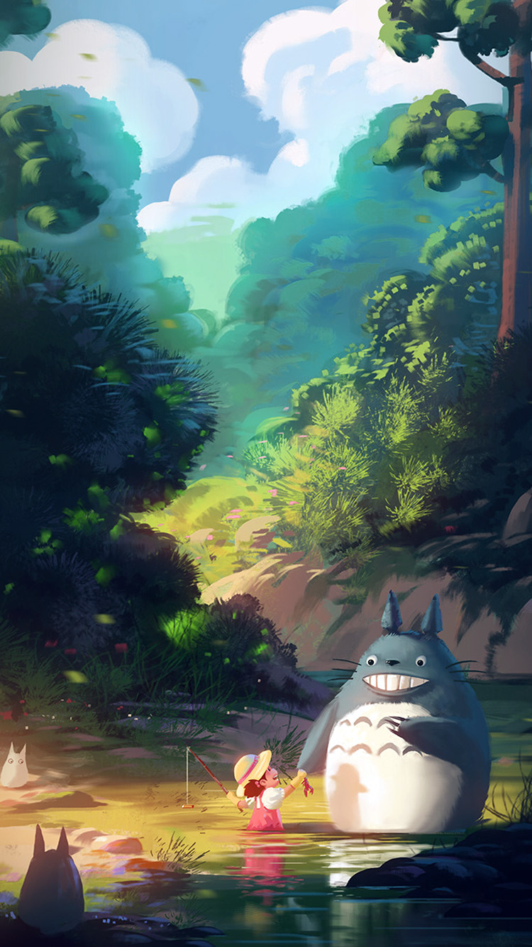 Totoro Wallpaper Iphone 6 Av34 Totoro Anime Liang Xing Illustration Art Blue Wallpaper