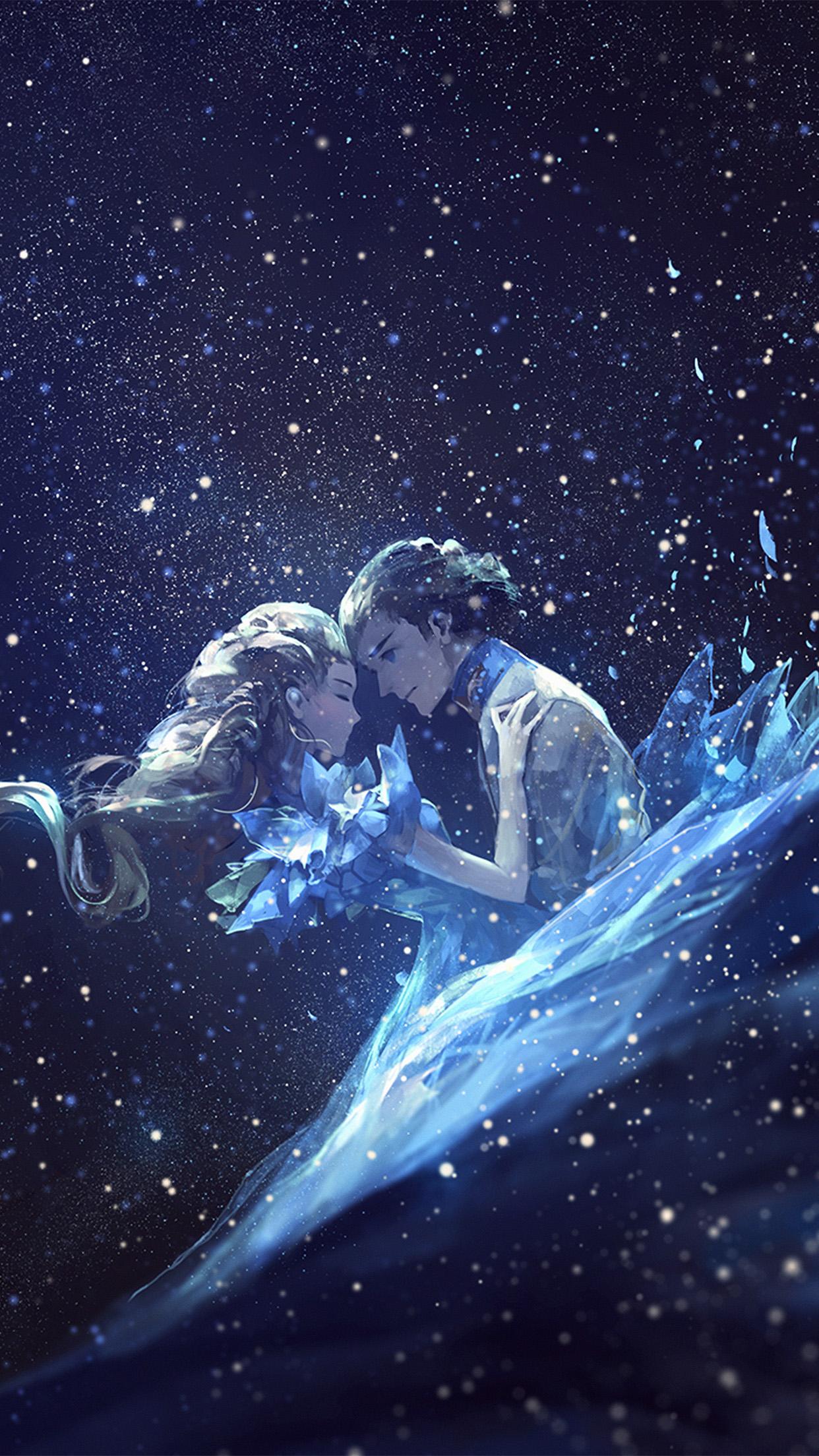 Anime Girl Looking At Sky Wallpaper Av43 Anime Kiss Love Blue Girl Boy Illustration Art Wallpaper