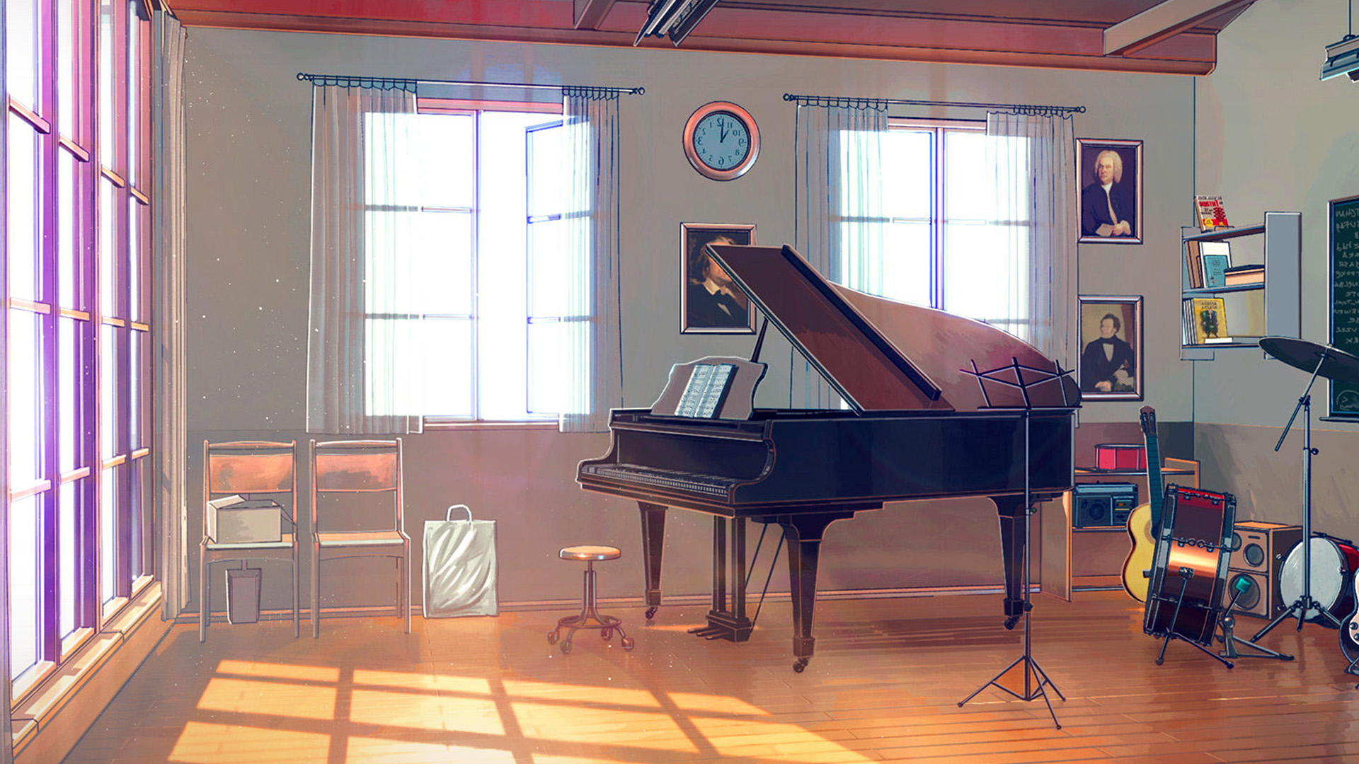 Fall Wallpapers Aw49 Arseniy Chebynkin Music Room Piano Illustration Art