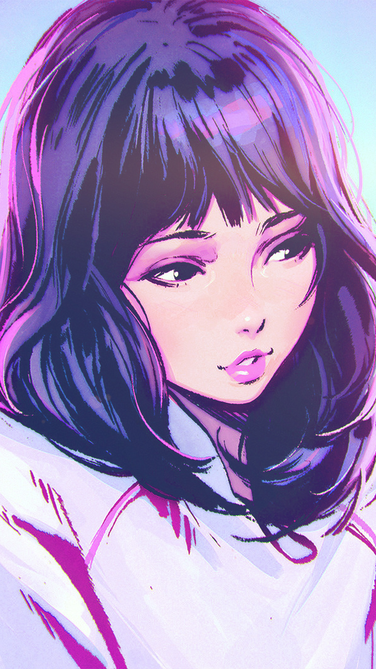 Lg Optimus 3d Wallpaper Aw58 Ilya Kuvshinov Girl Blue Face Illustration Art Wallpaper